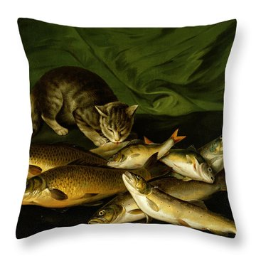 A Cat With Trout Perch And Carp On A Ledge Throw Pillow by Stephen Elmer