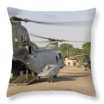 A Ch-46 Sea Knight And Mi-8 Helicopter Throw Pillow