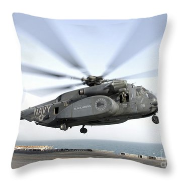 A Ch-53 Sea Stallion Helicopter Leaves Throw Pillow