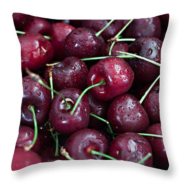 Throw Pillow featuring the photograph A Cherry Bunch by Sherry Hallemeier