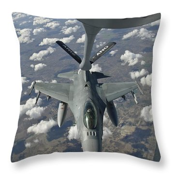 A Chilean Air Force F-16 Refuels Throw Pillow by Giovanni Colla