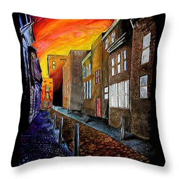 Throw Pillow featuring the mixed media A Cobbled Street by eVol  i