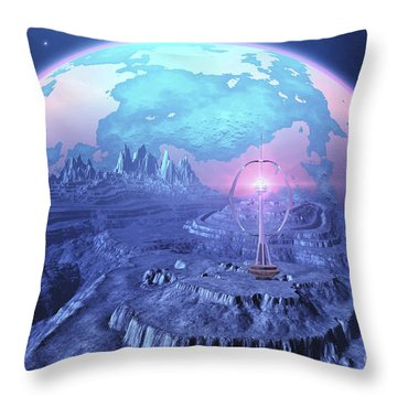 A Colony On An Alien Moon Throw Pillow by Corey Ford