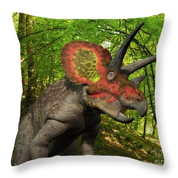 A Colorful Triceratops Wanders Throw Pillow by Walter Myers