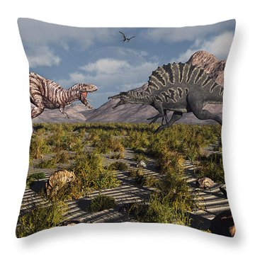 A Confrontation Between A T. Rex Throw Pillow by Mark Stevenson