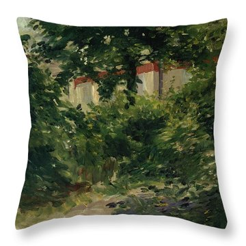 A Corner Of The Garden In Rueil Throw Pillow by Edouard Manet