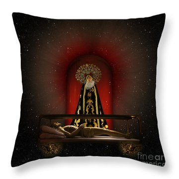 Throw Pillow featuring the digital art A Cosmic Drama by Rosa Cobos