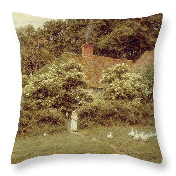 A Cottage At Farringford Isle Of Wight Throw Pillow by Helen Allingham