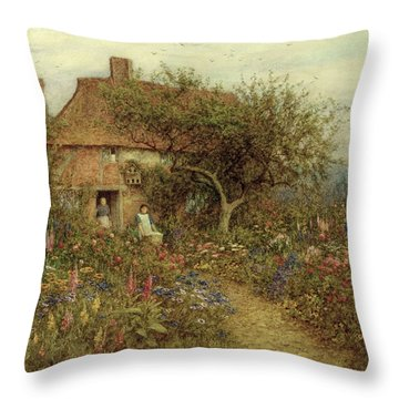 A Cottage Near Brook Witley Surrey Throw Pillow by Helen Allingham
