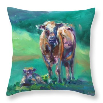 A Cow And Her Calf Throw Pillow by Donna Tuten