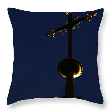 A Cross On St Vitus Cathedral Prague Throw Pillow by Christine Till