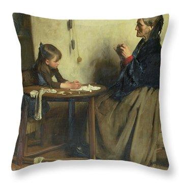 A Difficulty Throw Pillow by Arthur Hacker