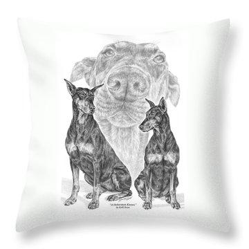 A Doberman Knows - Dobe Pinscher Art Print Throw Pillow