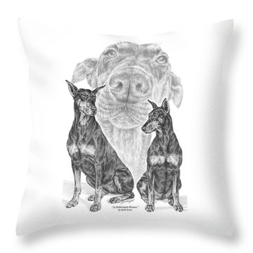 A Doberman Knows - Dobe Pinscher Art Print Throw Pillow