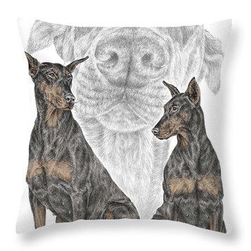A Doberman Knows - Dobe Pinscher Dog Art Print Throw Pillow