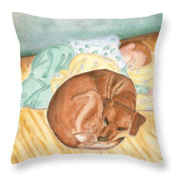 A Dog And Her Boy Throw Pillow by Arlene Crafton
