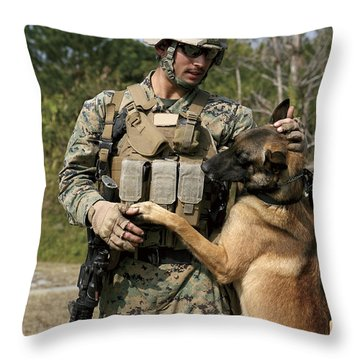A Dog Handler Gives Positive Throw Pillow by Stocktrek Images