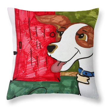 A Dog Is Heading Out The Door. Throw Pillow