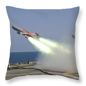 A Drone Is Launched From The Amphibious Throw Pillow by Stocktrek Images