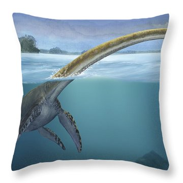 A Elasmosaurus Platyurus Swims Freely Throw Pillow by Sergey Krasovskiy