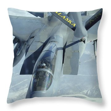 A F-15 Eagle Receives Fuel Throw Pillow by Stocktrek Images