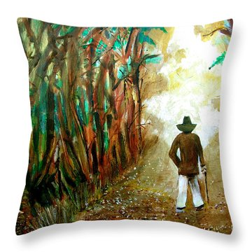 A Fall Walk In The Woods Throw Pillow