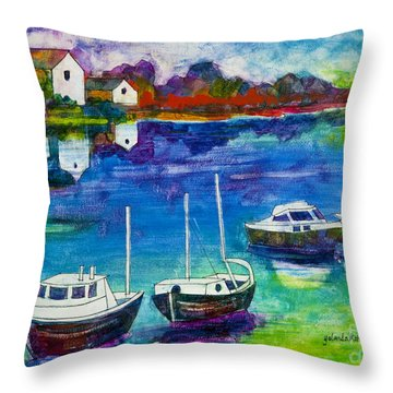 A Fishing Village Throw Pillow