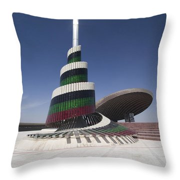 A Flagpole Covered In Plates Of Murano Throw Pillow by Terry Moore