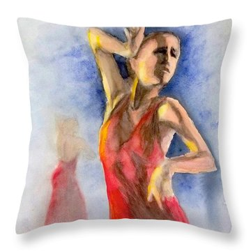 Throw Pillow featuring the painting A Flamenco Dancer  2 by Yoshiko Mishina
