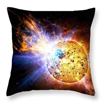 A Flare On The Star Known As Ev Throw Pillow
