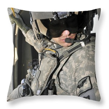 A Flight Medic Conducts A Daily Throw Pillow by Stocktrek Images