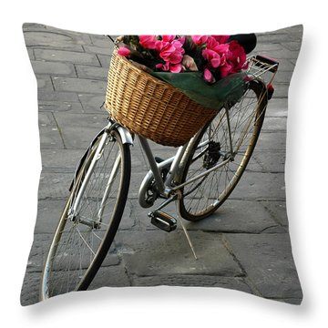 A Flower Delivery Throw Pillow by Vivian Christopher