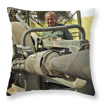 A Free Libyan Army Soldier Mans Throw Pillow by Andrew Chittock