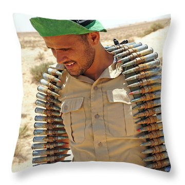 A Free Libyan Army Soldier With An Throw Pillow by Andrew Chittock