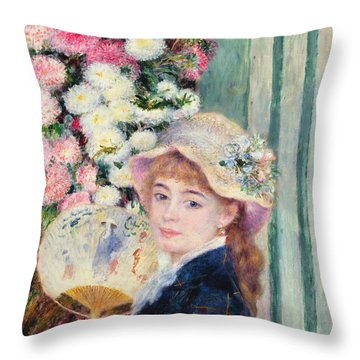 A French Girl With A Fan Throw Pillow by Pierre Auguste Renoir