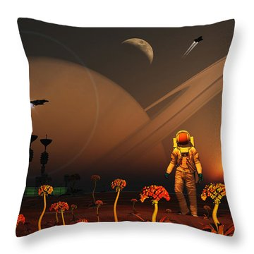 A Futuristic Outpost On The Moon Throw Pillow by Mark Stevenson