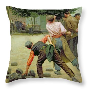 A Game Of Bourles In Flanders Throw Pillow by Remy Cogghe
