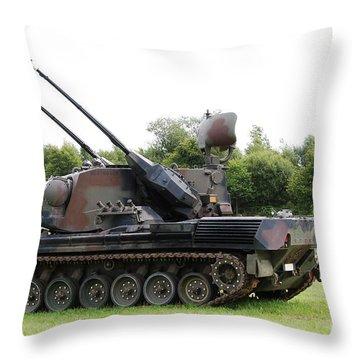 A Gepard Anti-aircraft Tank Throw Pillow by Luc De Jaeger