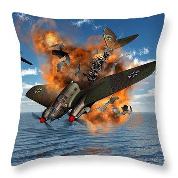 A German Heinkel Bomber Crashes Throw Pillow by Mark Stevenson