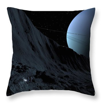 A Gigantic Scarp On The Surface Throw Pillow by Ron Miller