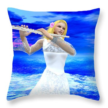 A Girl Playing Flute Throw Pillow