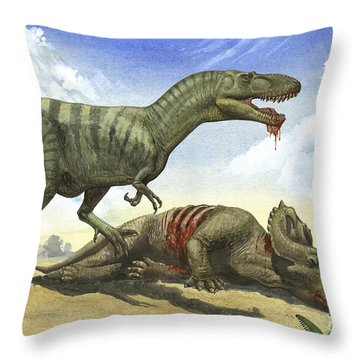 A Gorgosaurus Libratus Stands Throw Pillow by Sergey Krasovskiy