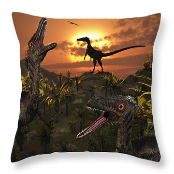 A Group Of Feathered Carnivorous Throw Pillow by Mark Stevenson