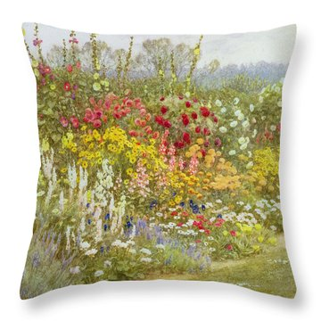 A Herbaceous Border Throw Pillow by Helen Allingham