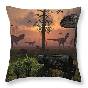 A Herd Of Allosaurus Dinosaur Cause Throw Pillow by Mark Stevenson