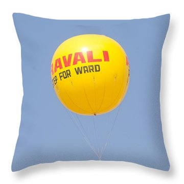 Throw Pillow featuring the photograph A Hot Air Balloon In The Blue Sky by Ashish Agarwal