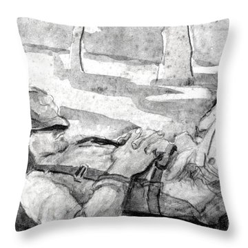 A Hunter's Nap Throw Pillow by Gretchen Allen