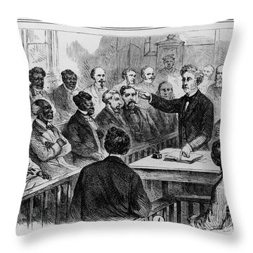 A Jury Of Whites And Blacks Throw Pillow by Photo Researchers