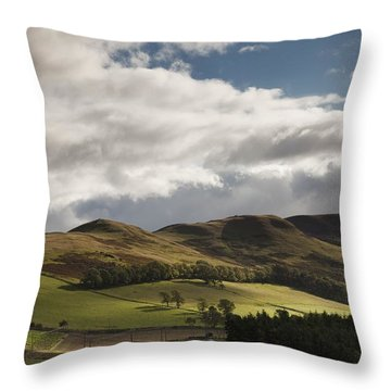 A Landscape With Rolling Hills And Throw Pillow by John Short