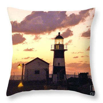 A Light House In Israel Throw Pillow by Robin Coaker